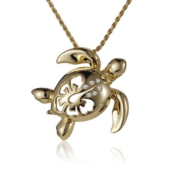 "Turtle Diamond Necklace 14k Yellow Gold Pendant 18"" Chain"