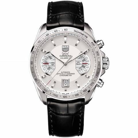 Tag Heuer Men's CAV511B.FC6225 'Grand Carrera' Chronograph Automatic Black Leather Watch - Silver