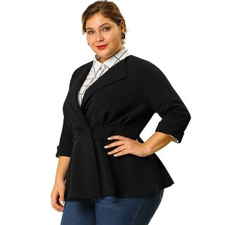 Link to Women's Plus Size Ruffle V Neck Button Ruched Peplum Blazer - Black Similar Items in Women's Plus-Size Clothing