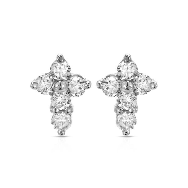 Mcs Jewelry Inc STERLING SILVER 925 CROSS EARRINGS WITH CUBIC ZIRCONIA 9.5MM