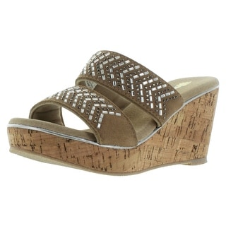 Volatile Jorie Beaded Women's Cork Wedge Slide Sandals
