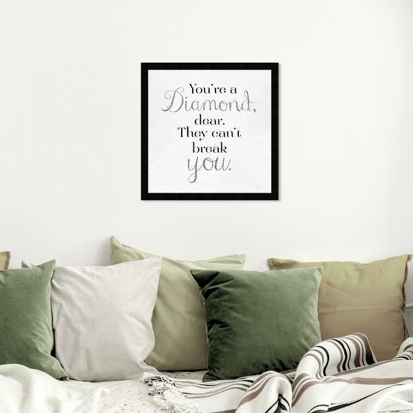 Oliver Gal You Re A Diamond Typography And Quotes Framed Wall Art Prints Love Quotes And Sayings Black White Overstock 31288727