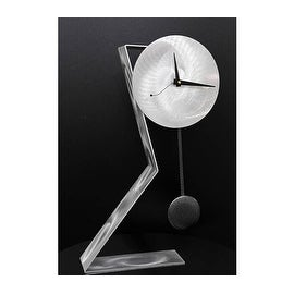 Statements2000 Silver / Black 23-inch Metal Desk Clock with Pendulum - Time Keeper