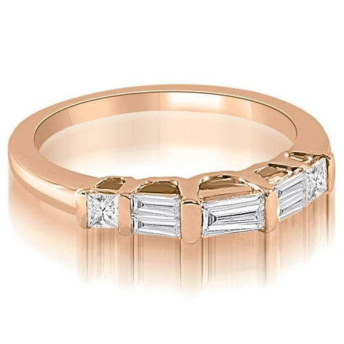 0.40 cttw. 14K Rose Gold Bar Set Baguette Diamond Wedding Band