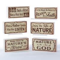 "Club Pack of 24 Vintage Wooden Nature Block Table Top Decorations 5"" - Brown"