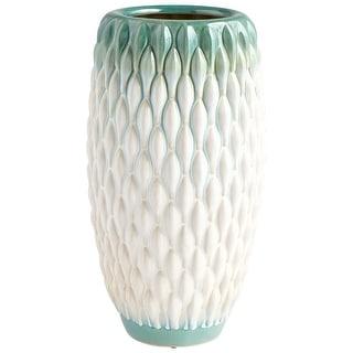 "Cyan Design 09088  Verdant Sea 7"" Diameter Ceramic Vase - Green / White Glaze"