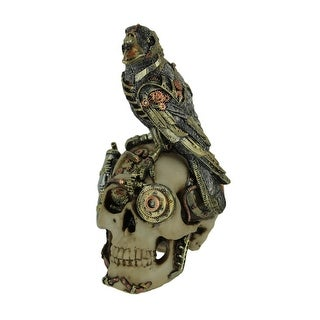 Robot Raven Perched On Steampunk Skull Statue - 7.75 X 5.25 X 4.5 inches