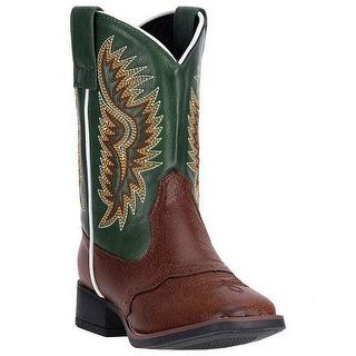 Laredo Western Boots Boys Green Vinny Cowboy Stockman Brown LC2277