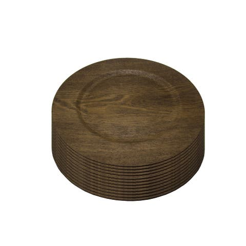 Gibson Home Feri 12 Piece 13 inch Wooden Skin Luxe Chargers