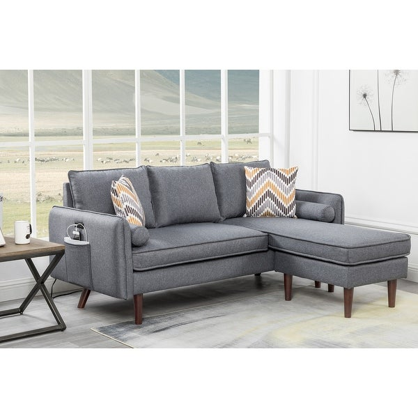Mia Sectional Sofa Chaise with USB Charger & Pillows. Opens flyout.