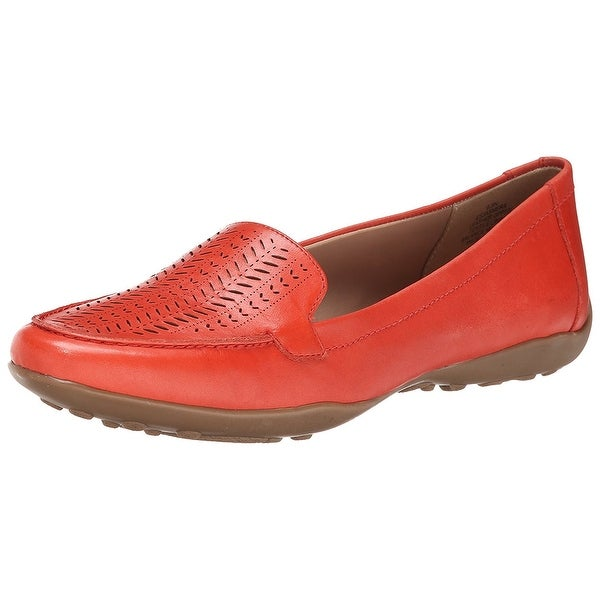 Easy Spirit Womens JASMERA Leather Closed Toe Loafers, Red, Size 6.0