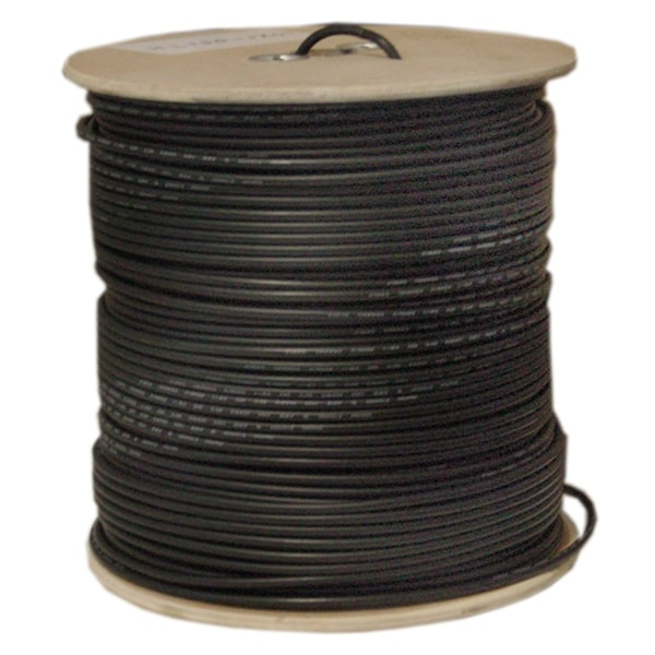 Offex Bulk RG6 Coaxial Cable, Black, 18 AWG, Solid Core, Spool, 1000 foot
