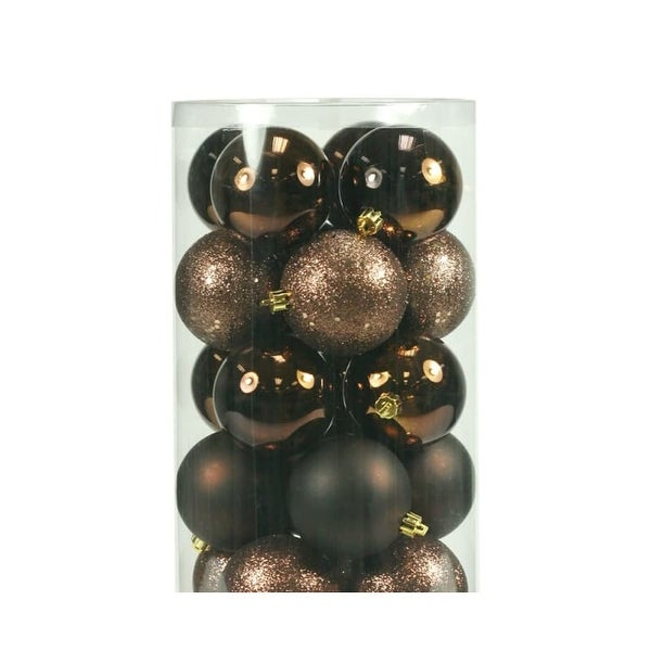 Christmas at Winterland WL-ORNTUBE-70-BR 2.5-Inch Plastic Shatterproof Brown Ball Ornaments (Package of 100)