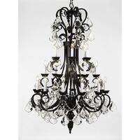 Wrought Iron Chandelier Lighting 50In Tall With Crystal 24 Lights
