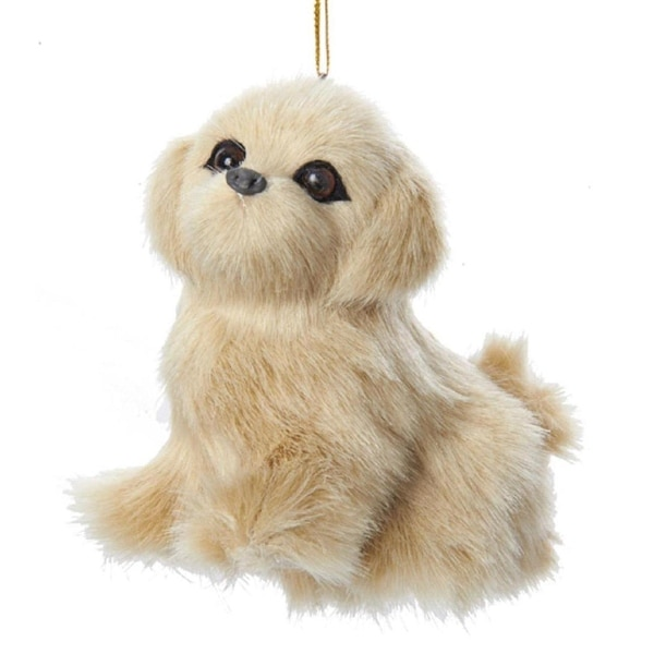 "3.25"" Beige Plush Golden Retriever Puppy Dog Christmas Ornament"