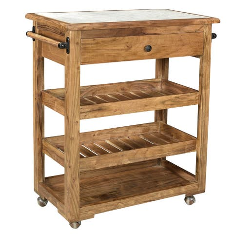 A&B Home Makrana Natural Kitchen Island With Marble Top