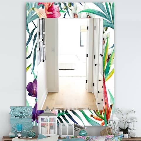 Designart 'Tropical Mood Bright 8' Bohemian and Eclectic Mirror - Wall Mirror