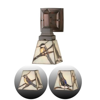 """Meyda Tiffany 98530 Early Morning Visitors 5"""" Wide Single Light Wall Sconce with Stained Glass Shade"""