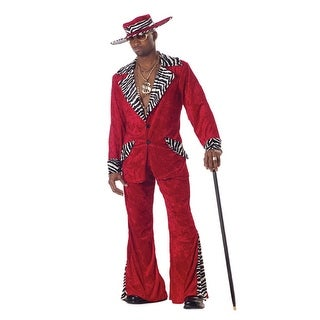 Adult Mens Red Pimp Zebra Halloween Costume
