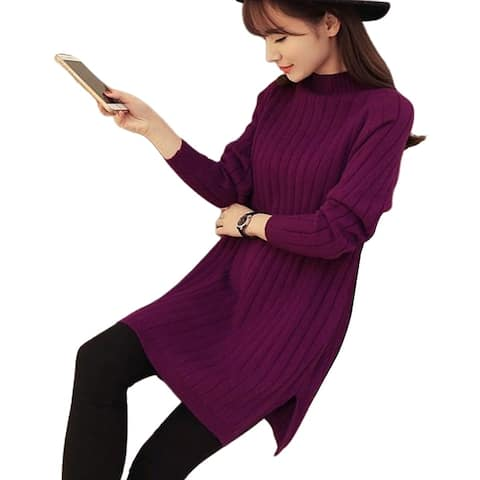 Fashion Women Loose Solid Color Long Sleeve Turtle Neck Pullover Sweater Dress
