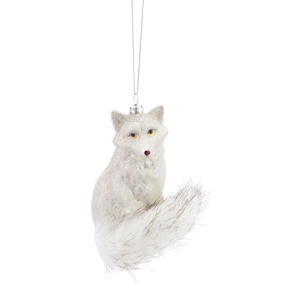 """Pack of 6 Sprakly Snow White Colored Fox Glass Christmas Ornament 4.5"""""""