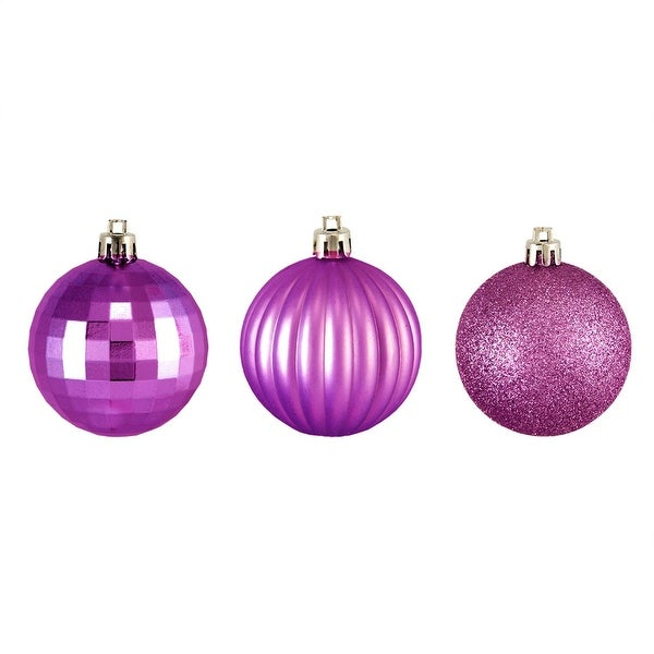 "100ct Orchid Pink 3-Finish Shatterproof Christmas Ball Ornaments 2.5"" (60mm)"