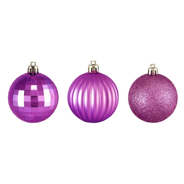 "300ct Orchid Pink 3-Finish Shatterproof Christmas Ball Ornaments 2.5"" (60mm)"