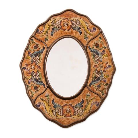 "Handmade Caramel Colonial Wreath Reverse-Painted Glass Wall Mirror (Peru) - 9.75"" H x 7.75"" W x 0.6"" D"