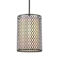 """Woodbridge Lighting 16623 Spencer 1 Light 8"""" Wide Single Mini Pendant with Fabric Interior and Patterned Metal Exterior Shades"""