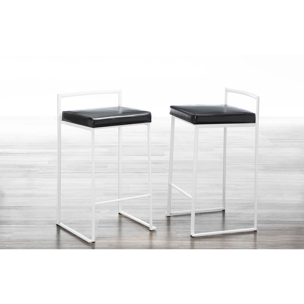 Fuji Contemporary White Stackable Counter Stool (Set of 2). Opens flyout.