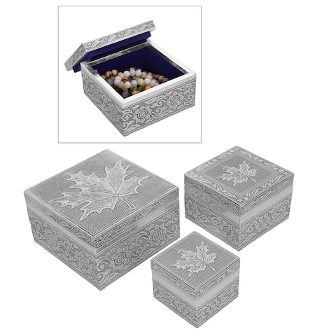 Set of 3 Maple Leafs Aluminum Oxidized Nested Box Scratch Protection
