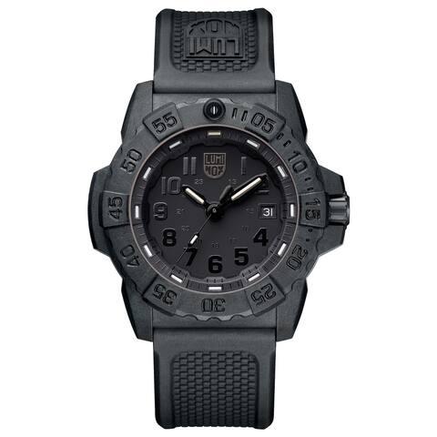 Luminox Men's XS.3501.BO Navy Seal 45mm Carbonox Black-Out Rubber Strap Watch