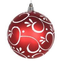Vickerman  4 in. Red Matte Ball White Floral Ornament Ball - 4 per Box