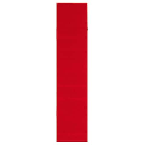 ECARPETGALLERY Bellisima Red Polyester Rug - 2'2 x 16'0