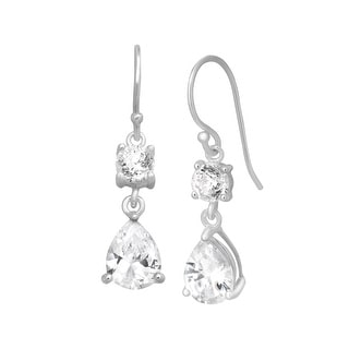 Drop Earrings with Cubic Zirconia in Sterling Silver - White