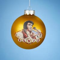 "3.25"" Vegas Gold Elvis Presley ""King of Rock & Roll"" Glass Christmas Ball Ornament(80mm)"