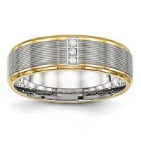 Stainless Steel Polished Yellow IP CZ Grooved Comfort Back Ring (6 mm) - Sizes 6 - 13