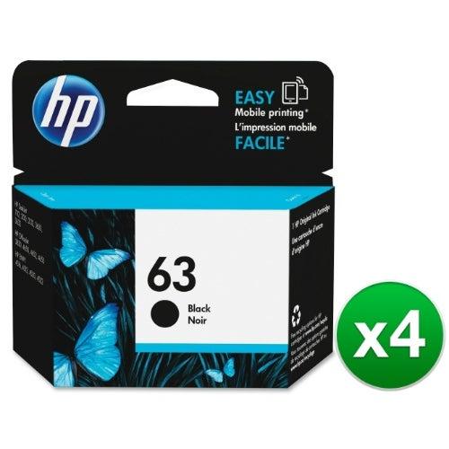 HP 63 High Yield Black Original Ink Cartridge (F6U62AN)(4-Pack)