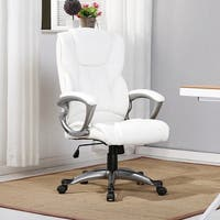 Belleze Executive Padded Lumber Support Office Chair Leather, White