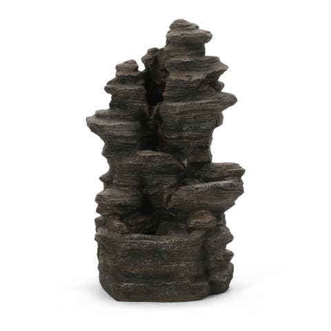 Coweta Outdoor Tier Rock Fountain Outdoor 4 by Christopher Knight Home