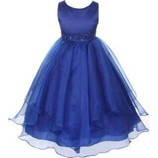 Flower Girl Dress Asymmetric Ruffles Satin & Organza Royal CB 302