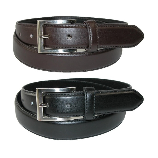 CTM® Men's Leather Basic Dress Belt with Silver Buckle (Pack of 2 Colors)