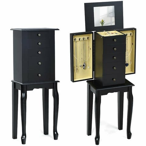 Jewelry Cabinet Armoire Storage Chest with 5 Drawers Box