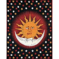 Handmade Cotton Celestial Sun Moon Star Solar Eclipse Tapestry Coverlet Orange Red  in Twin 70x104 & Full 88x104
