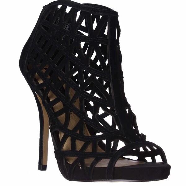 Kensie Brenda Cutout Bootie Sandals, Black Suede