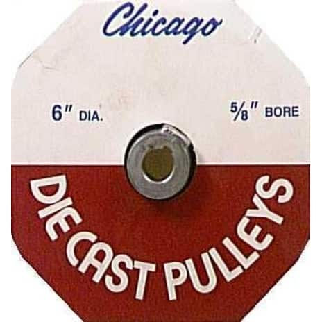 """Chicago Die Casting 600A6 Single V Grooved Pulley, 6"""" x 5/8"""""""