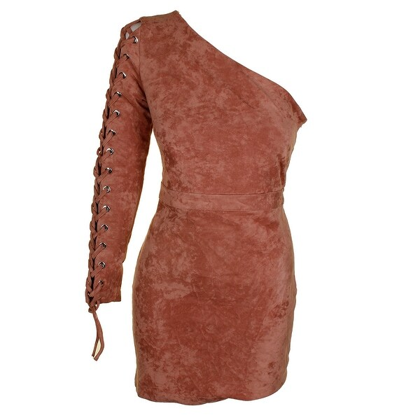 22ebf15f16a Endless Rose Juniors Pink Lace-Up-Sleeve One-Shoulder Faux-Suede Bodycon
