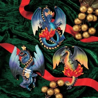 Design Toscano Three Dragons of Talbooth Sculptural Holiday Ornaments: Set of 3