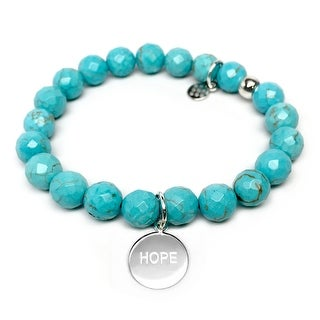 """Turquoise Magnesite Hope Silver Charm Lucy 7"""" Bracelet"""
