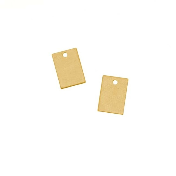 Solid Brass Blank Stamping 'Rectangle' Charms 8.5 x 6mm (2)